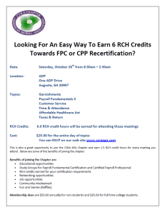 Attend these classes to earn 6 RCH credits